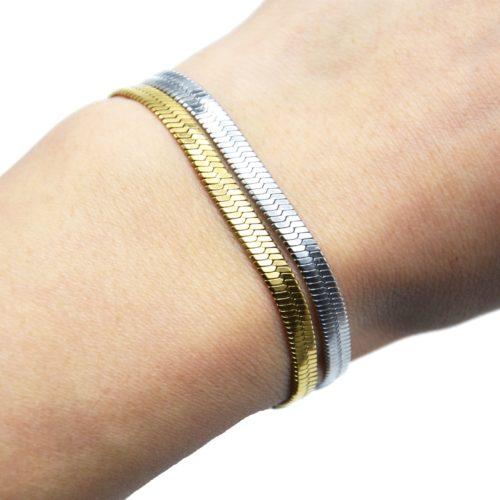 Bracelet-Chaine-Serpent-Brillante-Acier