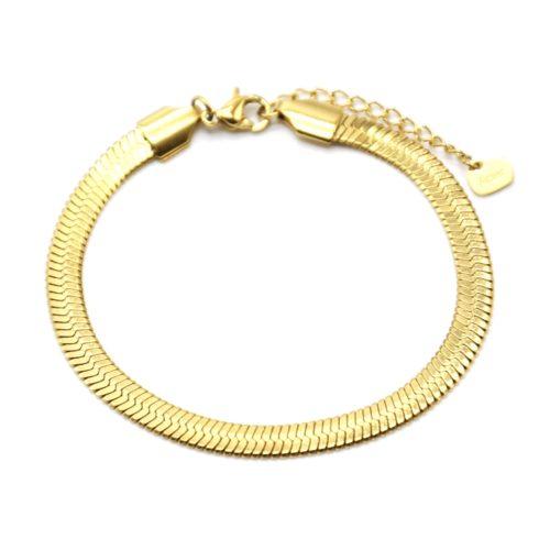Bracelet-Chaine-Serpent-Brillante-Acier-Dore