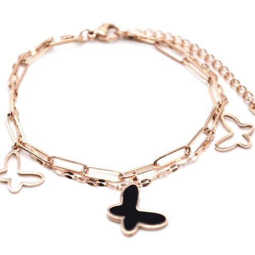Bracelet-Double-Chaines-Maillons-avec-Papillons-Acier-Or-Rose-et-Resine-Noire