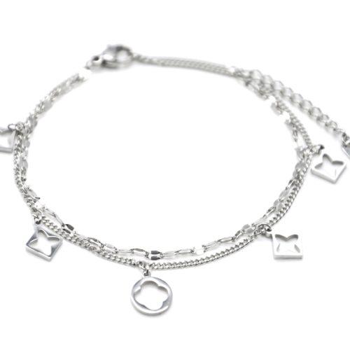 Bracelet-Double-Chaines-avec-Pampilles-Losanges-Ajoures-Trefles-Acier-Argente