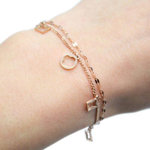 Bracelet-Double-Chaines-avec-Pampilles-Losanges-Ajoures-Trefles-Acier-Or-Rose