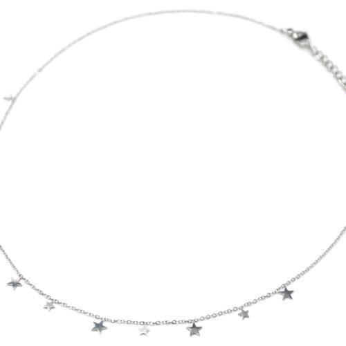 Collier-Ras-du-Cou-avec-Mini-Pampilles-Etoiles-Acier-Argente