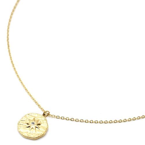 Collier-Pendentif-Medaille-Martelee-Soleil-Acier-Dore-et-Strass