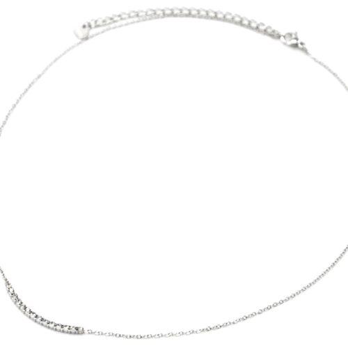 Collier-Fine-Chaine-Acier-Argente-Pendentif-Barre-Multi-Strass