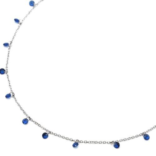 Collier-Fine-Chaine-Acier-Argente-avec-Pampilles-Pierres-Rondes-Bleues