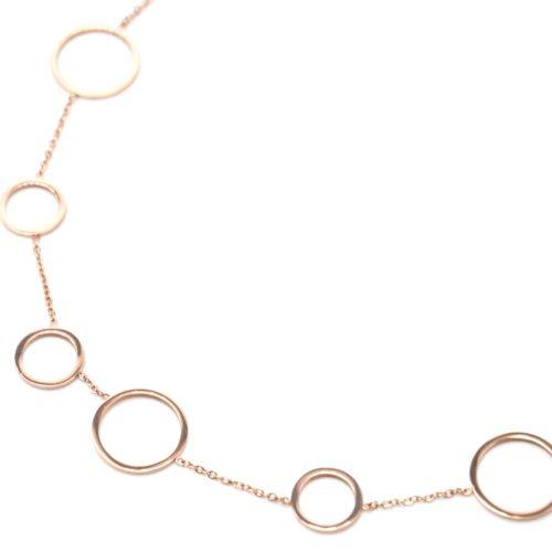 Collier-Fine-Chaine-avec-Multi-Cercles-Assortis-Acier-Or-Rose