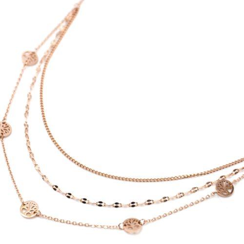 Collier-Triple-Chaines-avec-Charms-Arbres-de-Vie-Acier-Or-Rose
