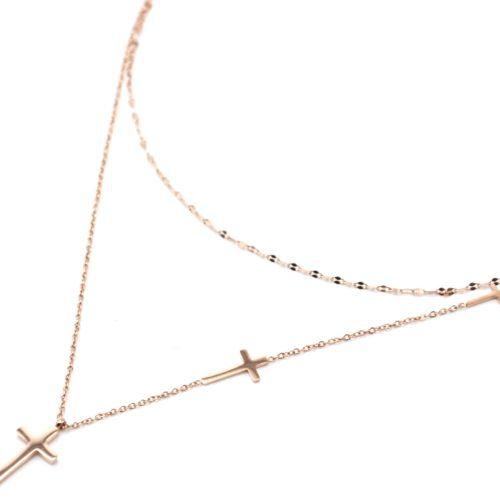 Collier-Double-Chaines-avec-Multi-Charms-Croix-Acier-Or-Rose