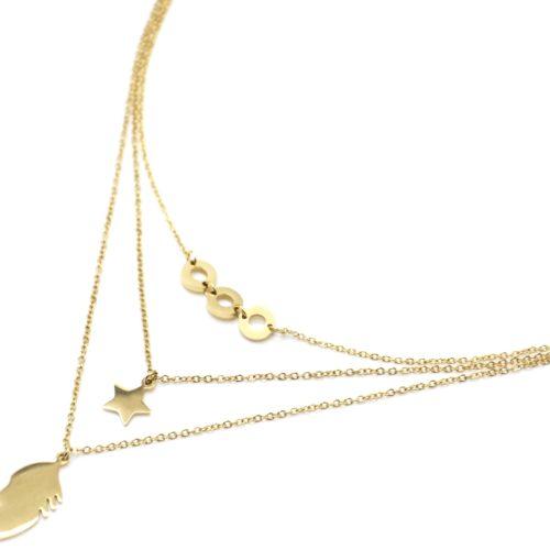 Collier-Triple-Chaines-Pendentifs-Cercles-Etoile-et-Plume-Acier-Dore