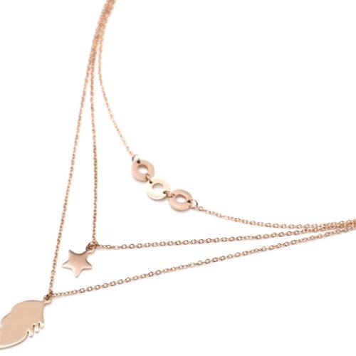 Collier-Triple-Chaines-Pendentifs-Cercles-Etoile-et-Plume-Acier-Or-Rose