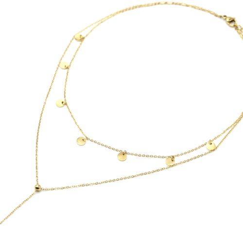 Collier-Double-Chaines-avec-Pampilles-Rondes-et-Coeur-Acier-Dore