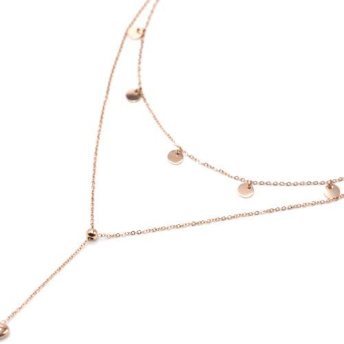 Collier-Double-Chaines-avec-Pampilles-Rondes-et-Coeur-Acier-Or-Rose