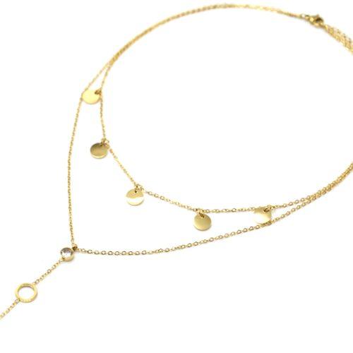 Collier-Double-Chaines-avec-Pampilles-Rondes-Pierre-et-Cercles-Acier-Dore