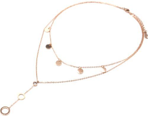 Collier-Double-Chaines-avec-Pampilles-Rondes-Pierre-et-Cercles-Acier-Or-Rose