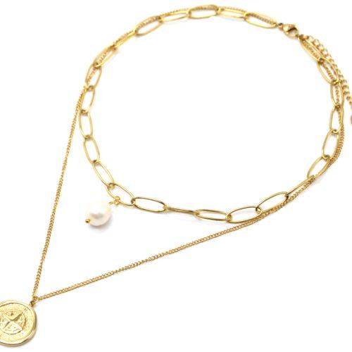 Collier-Double-Chaines-avec-Maillons-Perle-et-Medaille-Etoile-Polaire-Acier-Dore