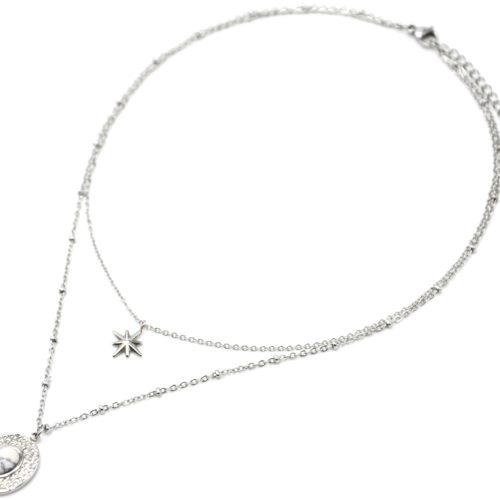 Collier-Double-Chaines-avec-Etoile-et-Ovale-Martele-Acier-Argente-Pierre-Noire
