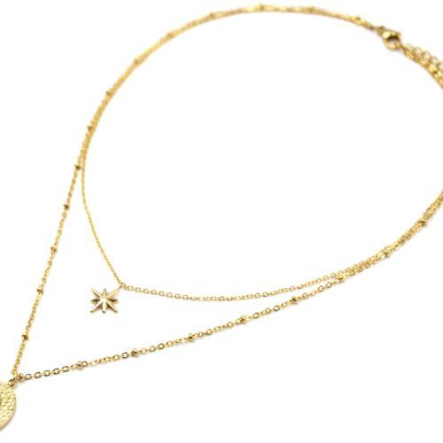 Collier-Double-Chaines-avec-Etoile-et-Ovale-Martele-Acier-Dore-Pierre-Turquoise