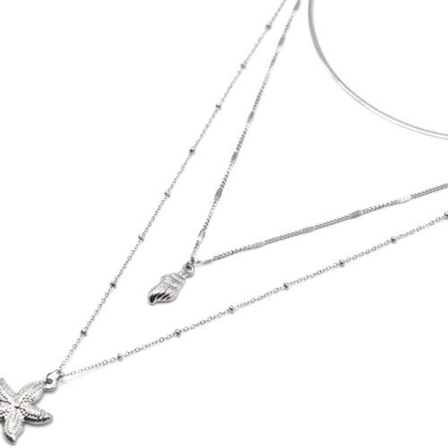 Collier-Triple-Chaines-avec-Coquillage-et-Etoile-de-Mer-Acier-Argente