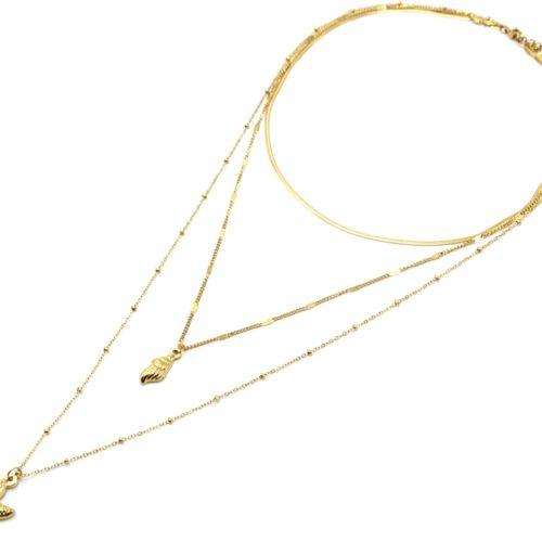 Collier-Triple-Chaines-avec-Coquillage-et-Etoile-de-Mer-Acier-Dore