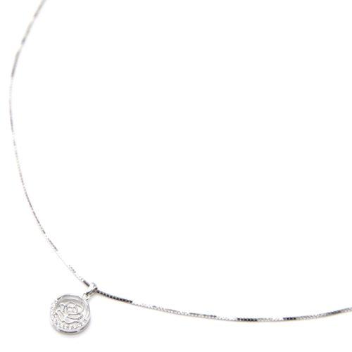 Collier-Fine-Chaine-Argent-925-Pendentif-Cercle-Fleur-Ajouree-Strass-Zirconium