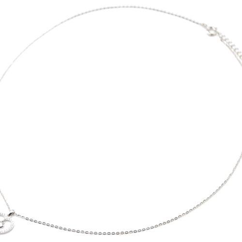 Collier-Fine-Chaine-Argent-925-Pendentif-Coeur-Ajoure-Strass-Zirconium-et-Charm-Uni