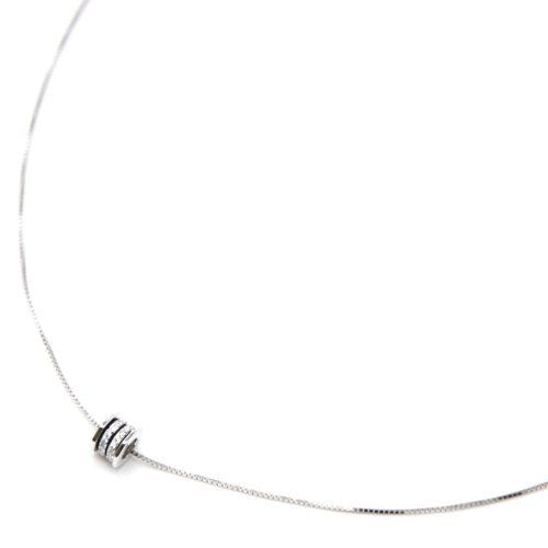 Collier-Fine-Chaine-Argent-925-Pendentif-Rouleau-Bandes-Strass-Zirconium