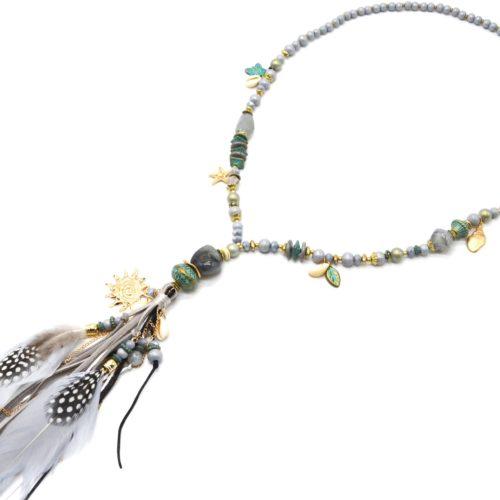 Sautoir-Collier-Perles-Pierres-Turquoise-avec-Soleil-Pompon-et-Plumes-Gris