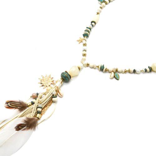 Sautoir-Collier-Perles-Pierres-Turquoise-avec-Soleil-Pompon-et-Plumes-Ecru