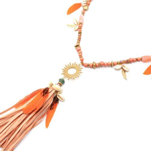 Sautoir-Collier-Perles-Bois-Pierres-avec-Soleil-Plumes-Oranges-et-Franges-Corail
