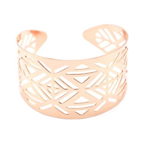 Bracelet-Manchette-Motif-Geometrique-Ajoure-Metal-Or-Rose
