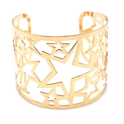 Bracelet-Manchette-Motif-Ajoure-Etoiles-Metal-Or-Rose