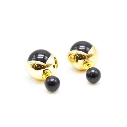 Boucles-dOreilles-Double-Perles-Petite-et-Grande-Perle-Noire-avec-Couronne-Metal-Dore