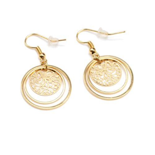 Boucles-dOreilles-Pendantes-Double-Cercles-et-Medaille-Ciselee-Metal-Dore