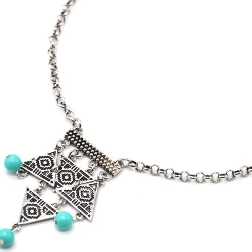 Collier-Pendentif-Multi-Triangles-Motif-Ethnique-Metal-Argente-et-Perles-Turquoise