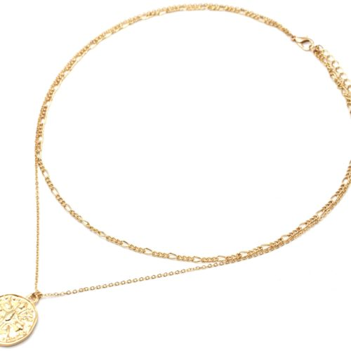 Collier-Double-Chaines-Metal-Dore-avec-Medaille-Martelee-Croix