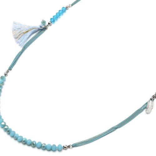 Sautoir-Collier-Chaines-Metal-avec-Perles-Plume-et-Pompon-Bleu