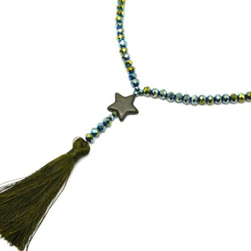 Sautoir-Collier-Perles-Brillantes-avec-Etoile-Pierre-Effet-Marbre-Kaki-et-Pompon