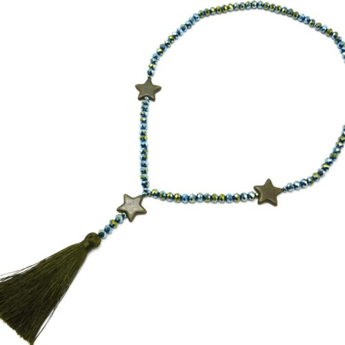 Sautoir-Collier-Perles-Brillantes-avec-Triple-Etoiles-Pierres-Effet-Marbre-Kaki-et-Pompon