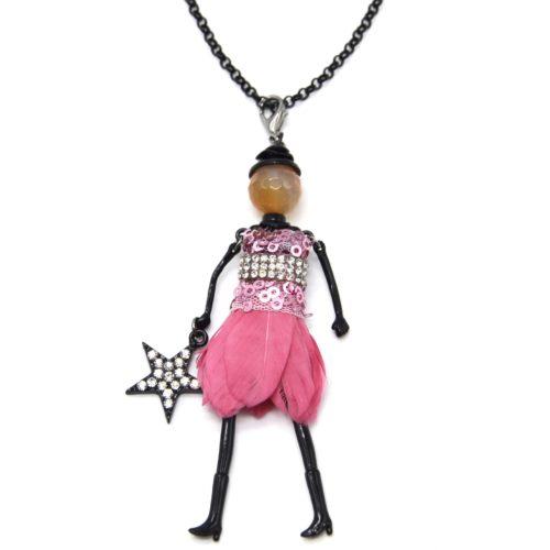 Sautoir-Collier-Pendentif-Poupee-Articulee-Femme-Robe-Sequins-Strass-et-Plumes-Rose-avec-Etoile