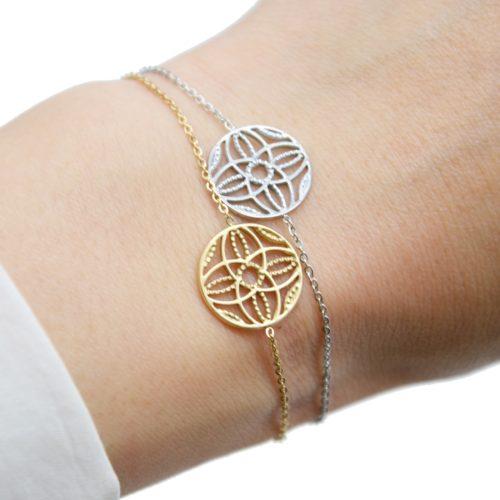 Bracelet-Fine-Chaine-Acier-avec-Cercle-Ajoure-Motif-Rosace