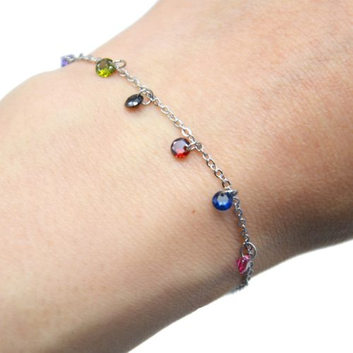 Bracelet-Fine-Chaine-Acier-Argente-avec-Pampilles-Pierres-Rondes-Multicolore