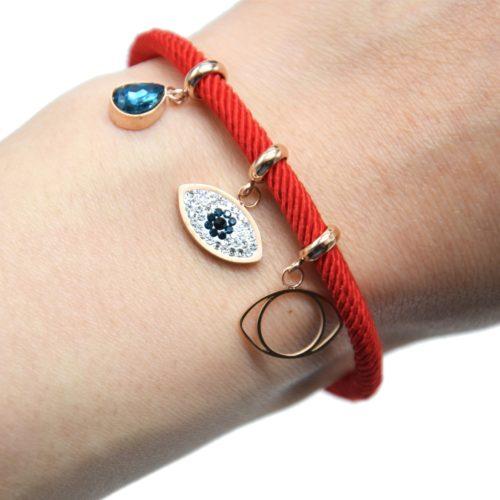 Bracelet-Cordon-Rouge-avec-Charm-Oeil-Strass-Contour-Acier-Or-Rose-et-Pierre-Goutte-Bleue