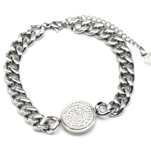 Bracelet-Gourmette-Chaine-Gros-Maillons-Acier-Argente-avec-Charm-Medaille-Strass