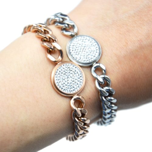 Bracelet-Gourmette-Chaine-Gros-Maillons-Acier-avec-Charm-Medaille-Strass