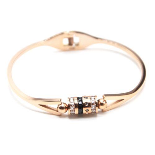Bracelet-Jonc-Acier-Or-Rose-avec-Multi-Anneaux-Strass-et-Pierres-Zirconium