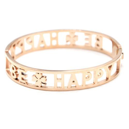Bracelet-Manchette-Acier-Or-Rose-avec-Message-Ajoure-Be-Happy-Strass