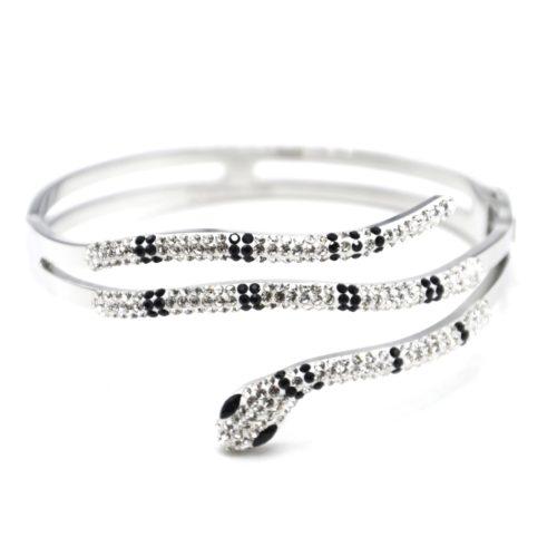 Bracelet-Manchette-Acier-Argente-avec-Serpent-Strass-Noir-et-Blanc