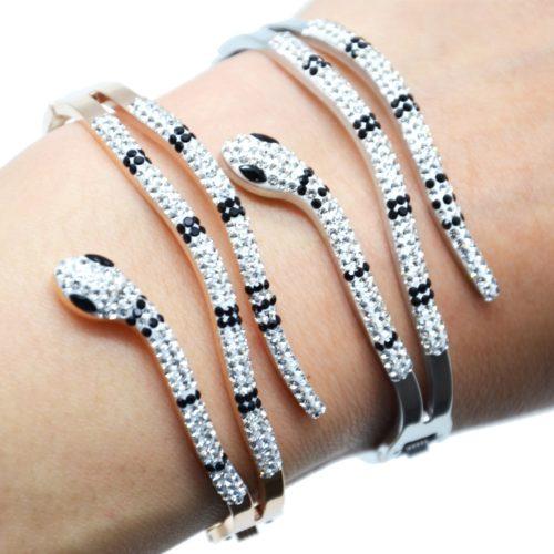 Bracelet-Manchette-Acier-avec-Serpent-Strass-Noir-et-Blanc