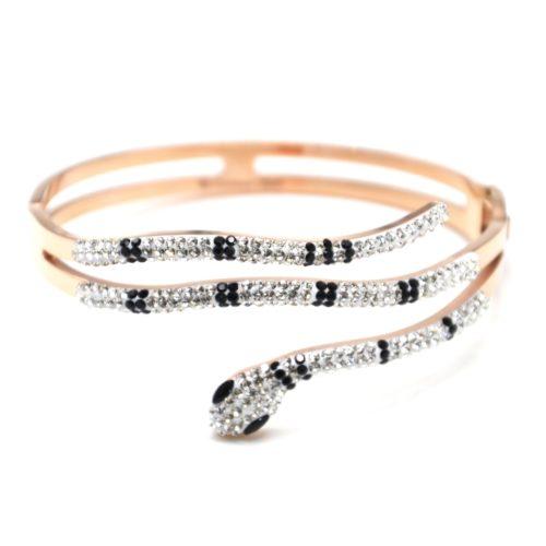 Bracelet-Manchette-Acier-Or-Rose-avec-Serpent-Strass-Noir-et-Blanc