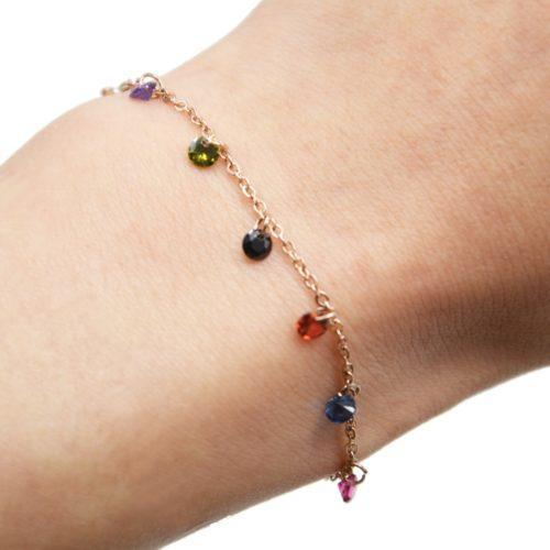 Bracelet-Fine-Chaine-Acier-Or-Rose-avec-Pampilles-Pierres-Rondes-Multicolore